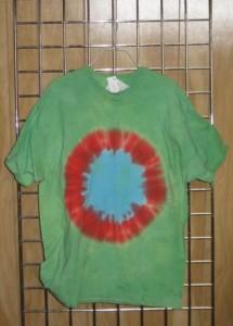 tye dye tshirt green with spot